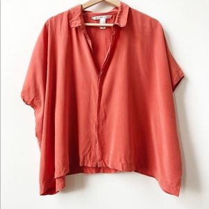Diane Von Furstenberg Coral 100% Silk Eris Blouse